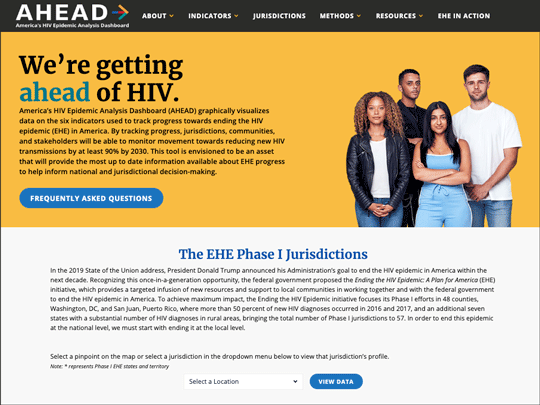 Screen grab of AHEAD Dashboard web page. We're Getting Ahead of HIV.
