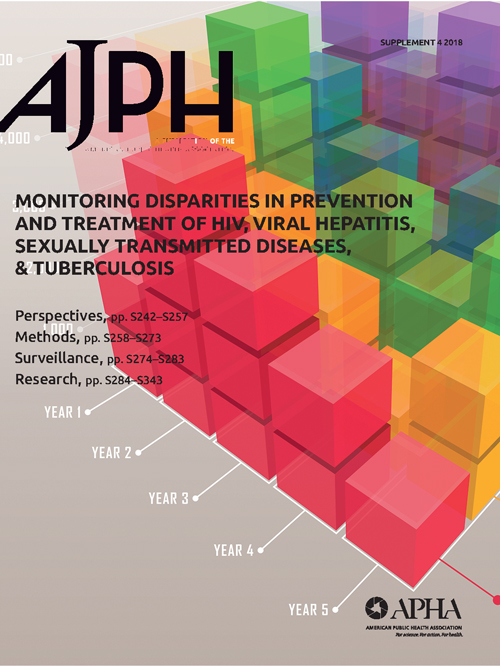 Cover of the AJPH special issue focused on monitoring disparities in prevention and treatment of HIV, Viral Hepatitis, sexually transmitted diseases, & Tuberculosis