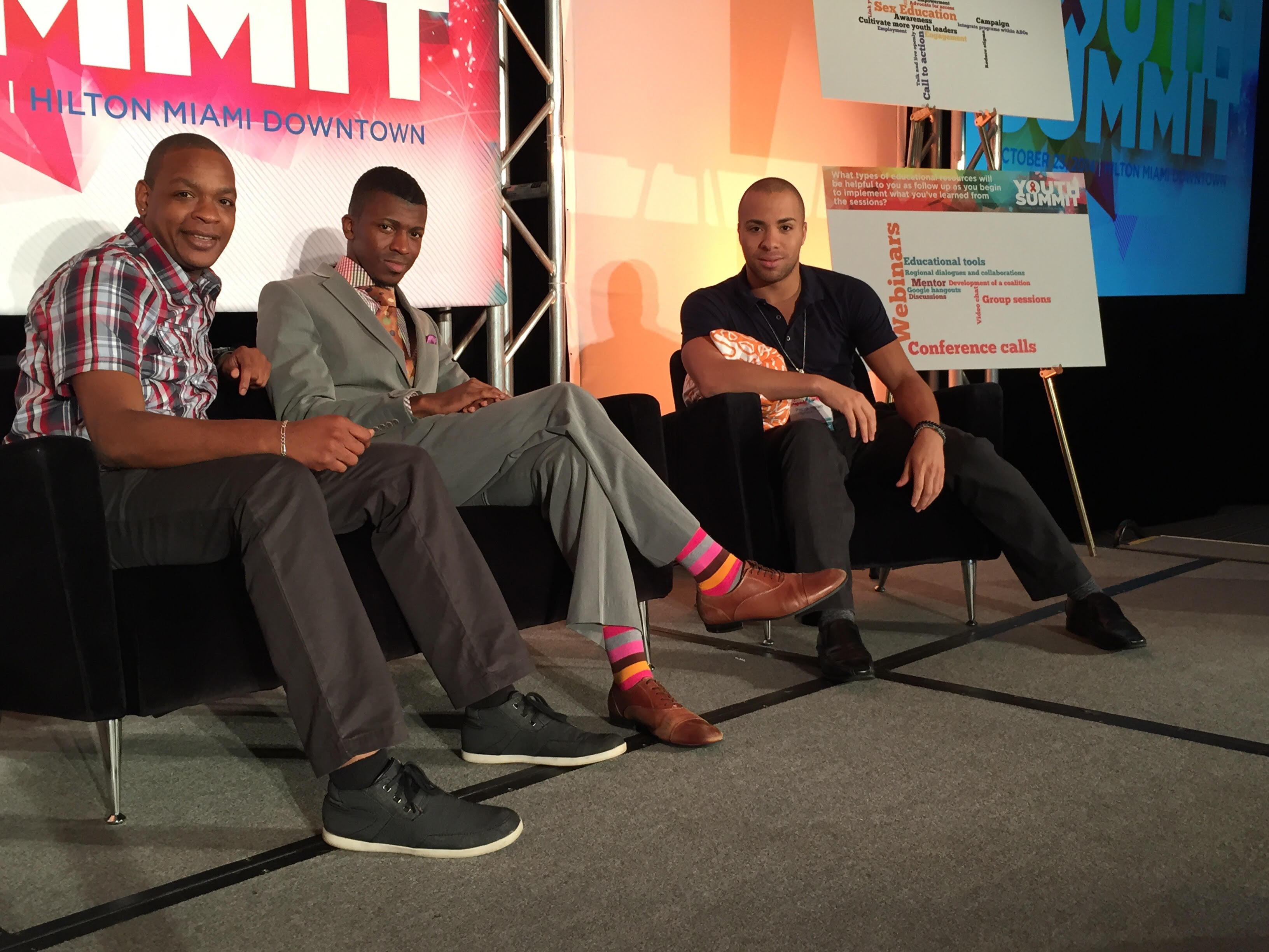 Anthony Roberts Jr., Ederick Johnson, Patrick Ingram at Viiv Youth Summit, Miami, 2014.