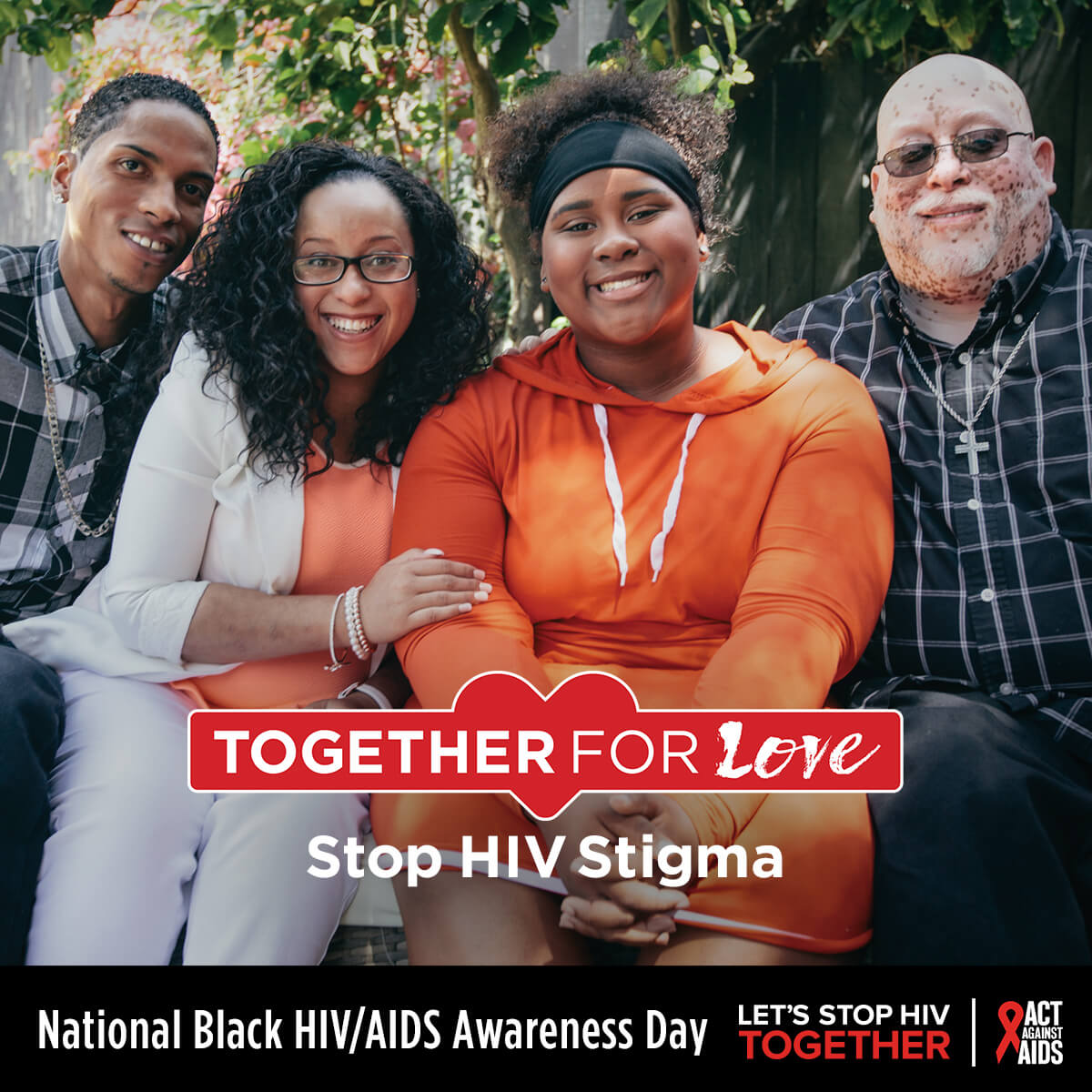 Together for Love. Stop HIV Stigma. National Black HIV/AIDS Awareness Day. Let's Stop HIV Together.