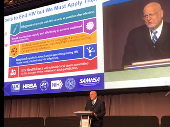 Screen grab of a live video featuring Dr. Redfield speaking on Ending the HIV Epidemic: A Plan for America.