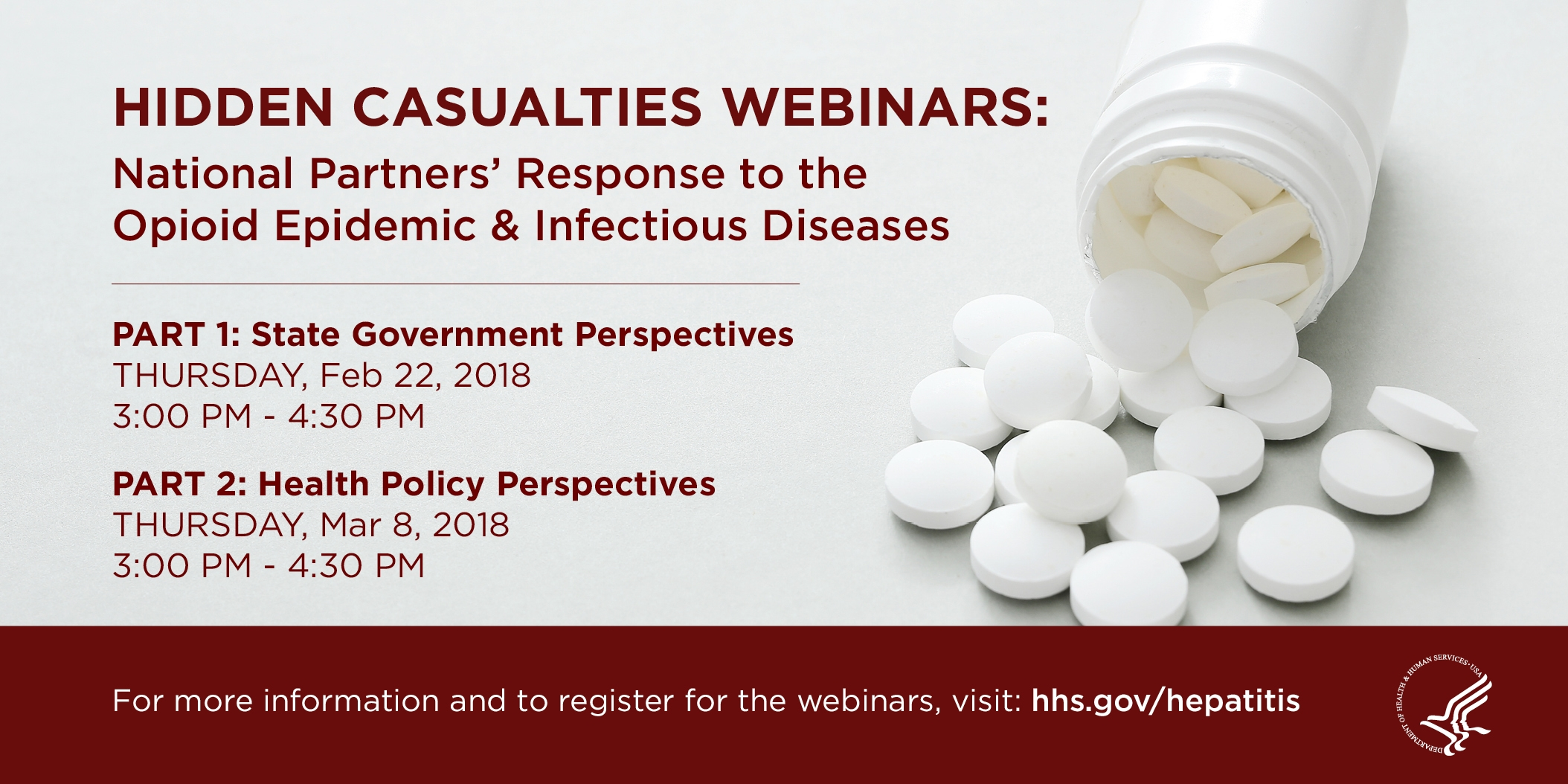 Banner image featuring a spilled bottle of pills and soem details on the upcoming webinars. See the body text for more info.