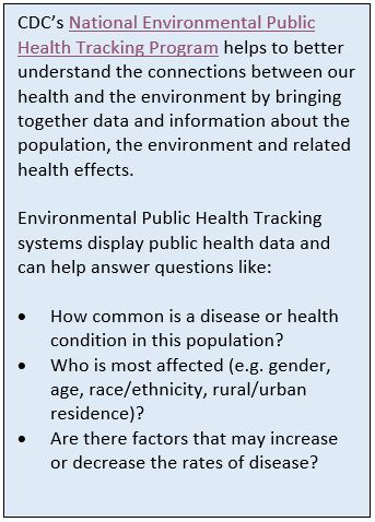CDC's National Environmental Public Health Tracking Program helps to better understand the connections between our health and the environment by bringing together data and information about the population, the environment and related health effects. Environmental Public Health Tracking systems display public health data and canhelp answer questions like: How commonis a disease or health condition in this population? Who is most affected (e.g. gender, age, race/ethnicity, rural/urban residence)? Are there factors that may increase or decreaste the rates of the disease?