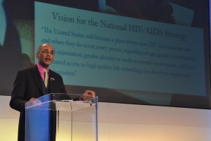Phill Wilson, Founder/CEO of the Black AIDS Institute addresses the 2011 USCA (photo courtesy of E. Negron/NMAC)