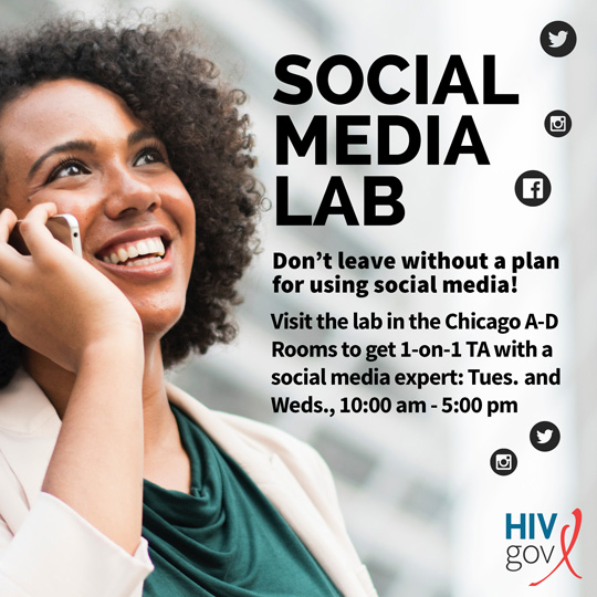 A woman talks on her cell phone. Social Media Lab. Don't leave without a plan for using social media! VIsit the lab in the in the Chicago A-D Rooms to get 1-on-1 TA wth a social media expert: Tues. and Weds., 10:00 am - 5:00 pm