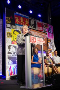 AIDS Alabama's Kathie Hiers speaks during the USCA 2015 plenary on HIV in the South