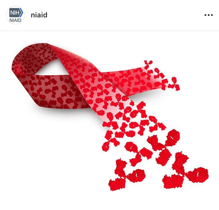 Image of red ribbon made up of pieces.