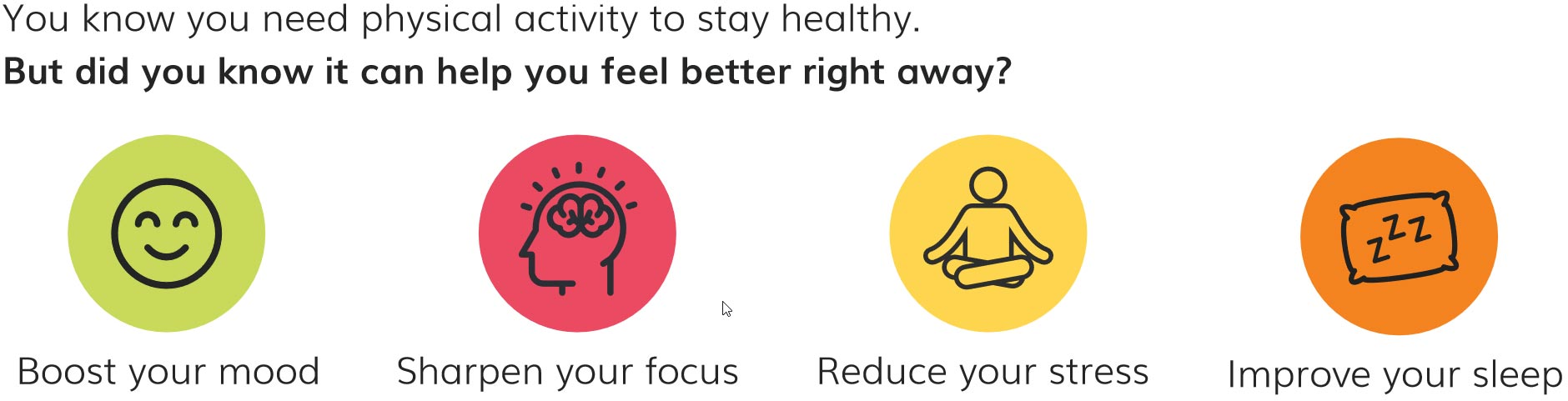 You know you need physical activity to stay healthy. But did you know it can help you feel better right away? Boost you mood. Sharpen your focus. Reduce your stress. Improve your sleep.