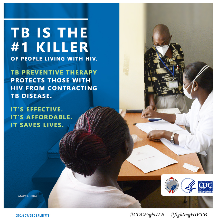 "Graphic featuring title text stating ""TB is the number one killer of people living with HIV"""