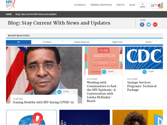 Screenshot of HIV.gov homepage showing the most read 2020 blog posts