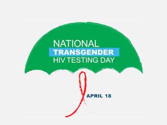 "Umbrella logo featuring text stating ""National Transgender HIV Testing Day"""
