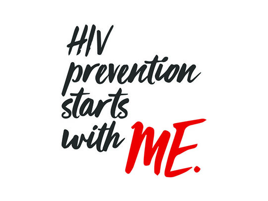 "Image of cursive style text stating ""HIV prevention starts with me."""