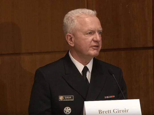Photo of Dr. Brett Giroir speaking at the event.
