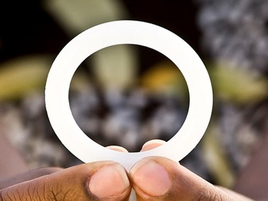 The dapivirine ring, pictured here, is made of flexible silicone and continuously releases the anti-HIV drug dapivirine in the vagina.