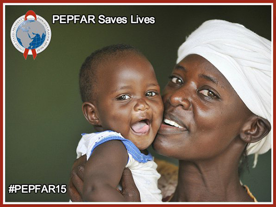 "Photo of a mother smiling and holding her baby up to her face with text stating ""PEPFAR saves lives."""