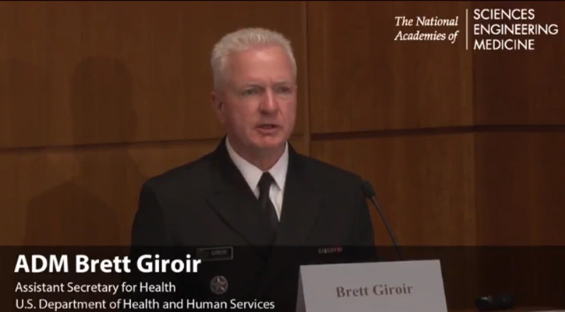 Photo of Adm. Brett Giroir speaking at a podium. Assistant Secretary for Health, U.S. Department of Health and Human Services. National Academies of Sciences, Engineering, Medicine.
