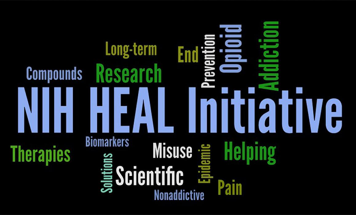 Word cloud including NIH HEAL Initiative, Therapies, Compounds, Research, Long-term, Scientific, Prevention, Opoioid, Helping, Addiction