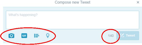 "Screenshot of ""compose new Tweet"" from twitter, highlighting add media buttons"