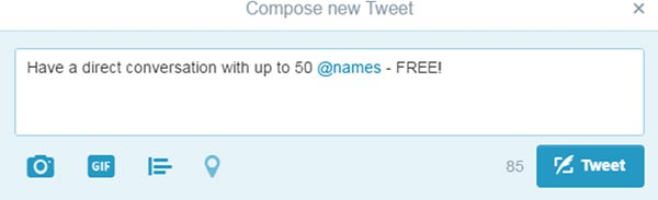 "Screenshot of ""compose new Tweet"" from twitter, demonstrating how to @ a twitter name"