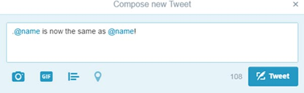 "Screenshot of ""compose new Tweet"" demonstrating you can remove the period before adding a twitter handle"