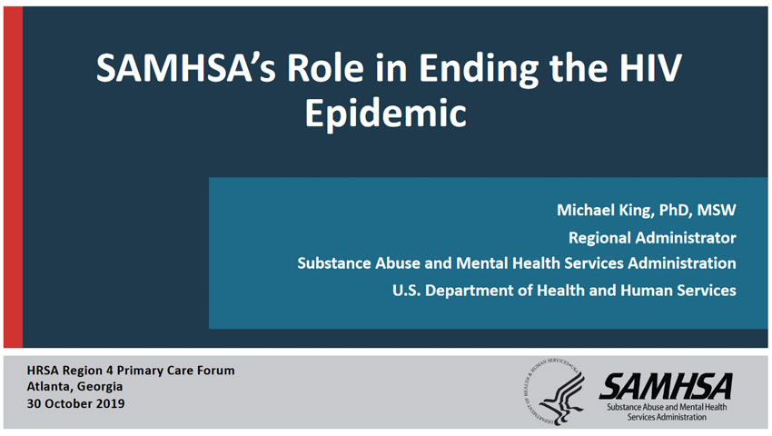 SAMHSA's Role in  Ending the HIV Epidemic
