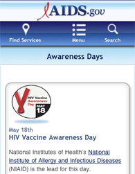 HIV.gov Awareness Days Mobile Site