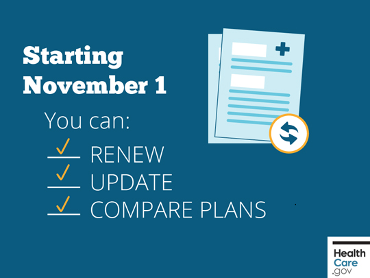 Check list saying Starting November 1 You can: Renew, Update and Compare Plans