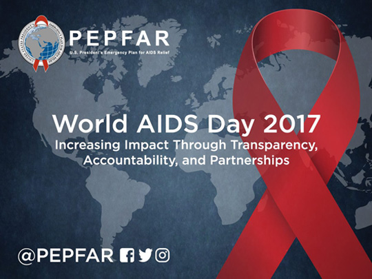 world map with red ribbon on front and pepfar logo