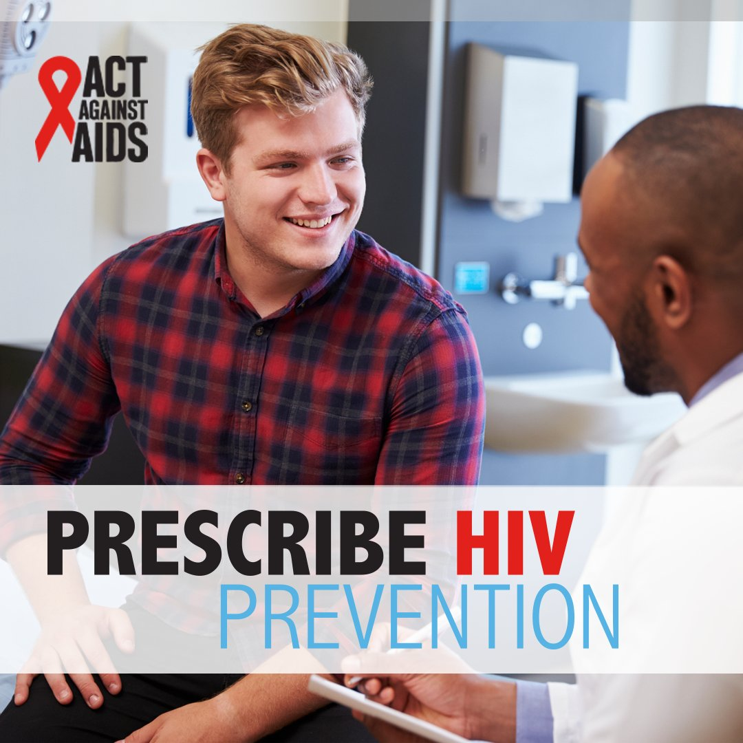 "Campaign image showing a man smiling as he talks with a doctor, with a text overlay stating: ""Prescribe HIV Prevention"""