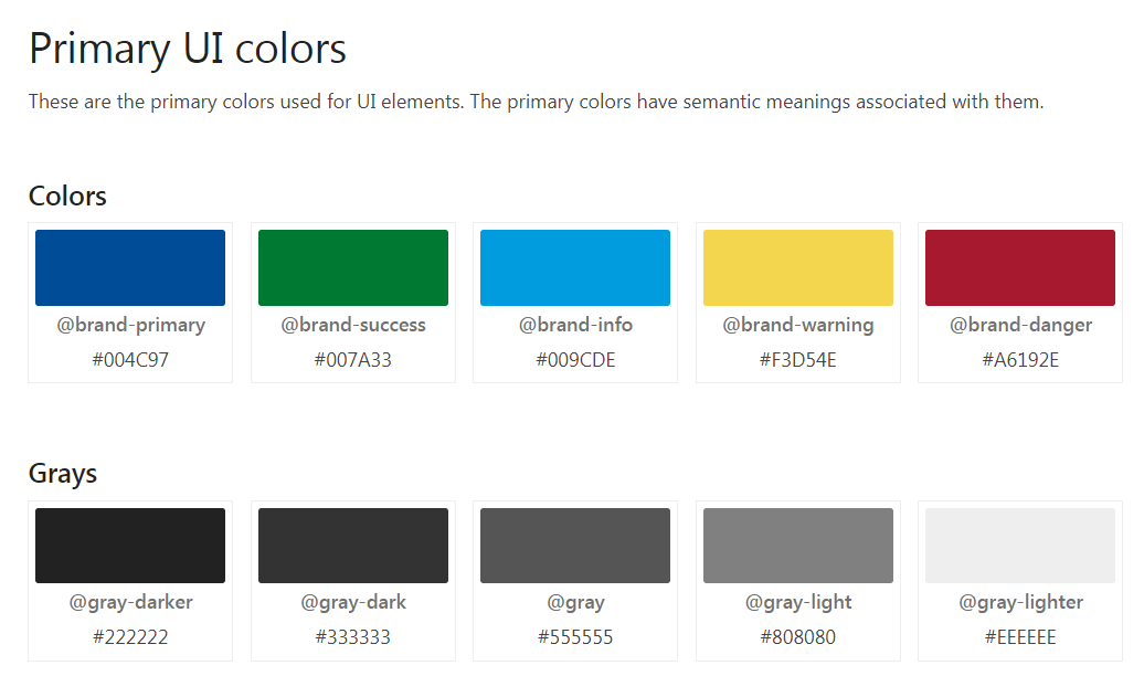 Primary user interface colors