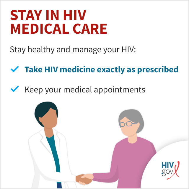 Stay healthy and manage your HIV: Take HIV medication daily. Keep your medical appointments.