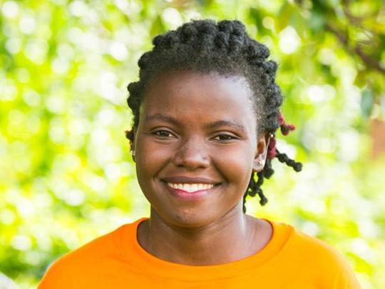 Woman in an orange shirt