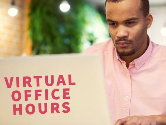 Virtual Office Hours African American Man with Laptop