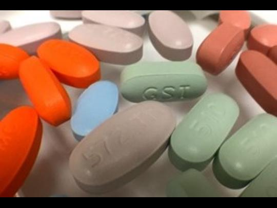 A variety of antiretroviral drugs used to treat HIV.