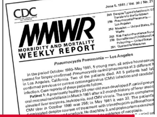 37 Years Ago. The first reported case of AIDS in the United States. Screen grab from CDC Morbidity and Mortality Weekly Report from June 5,1981