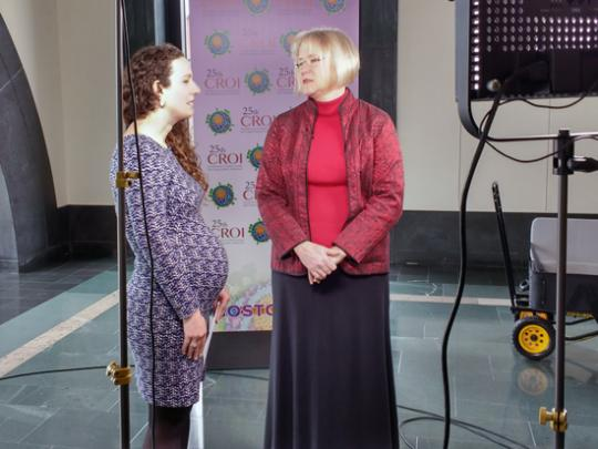 Anne Rancour and Dr Laura Cheever on the set for Facebook Live at CROI