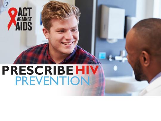 Photo of a man speaking with a doctor. Prescribe HIV Prevention