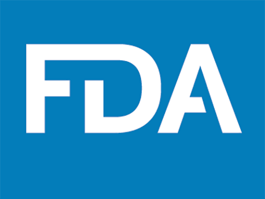 FDA logo - white letters on a blue background
