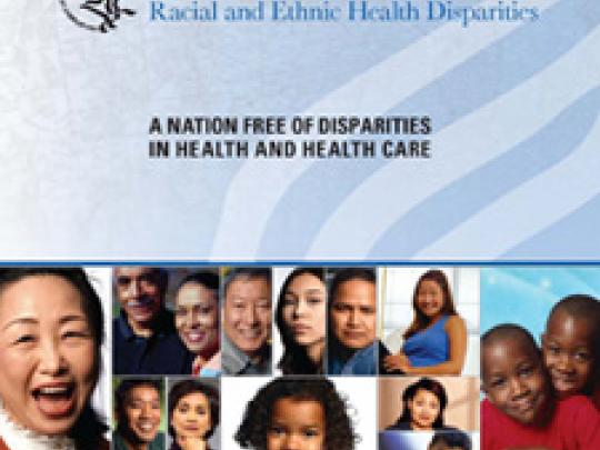 HHS Action Plan to Reduce Racial and Ethinic Health Disparities cover. Has a collage of people across the front and a watermark of the HHS logo