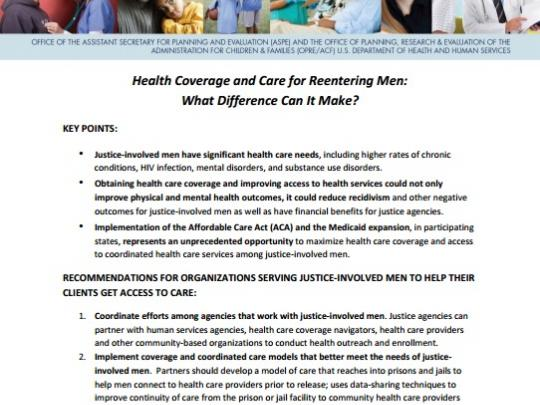 Thumbail of brief on Health Care Coverage for Reentering Men: What Difference Can It Make.