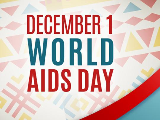 December 1 World AIDS Day on a geometric background.