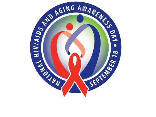 National HIV/AIDS and Aging Awareness Day - September 18.  Logo of two ribbons entwined.