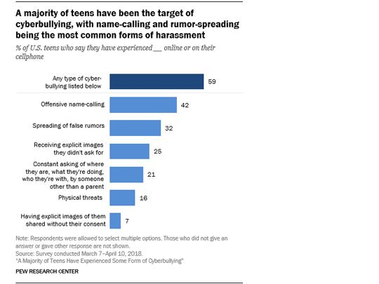 A bar chart showing a % of teens who say they have experienced various kinds of bullying online or on their cell phone.