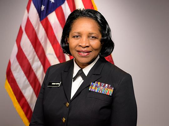 Photo of a woman in uniform: Rear Admiral Deborah Parham-Hopson, Ph.D., MSPH, RN