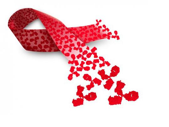 An AIDS ribbon depicted with broadly neutralizing antibodies