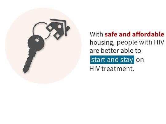 Graphic of a key attached to a house. With safe and affordable housing, people with HIV are better able to start and stay on HIV treatment.