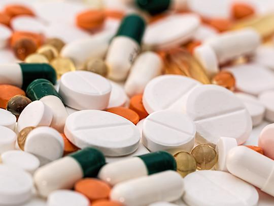 Close-up image of spilled pills.