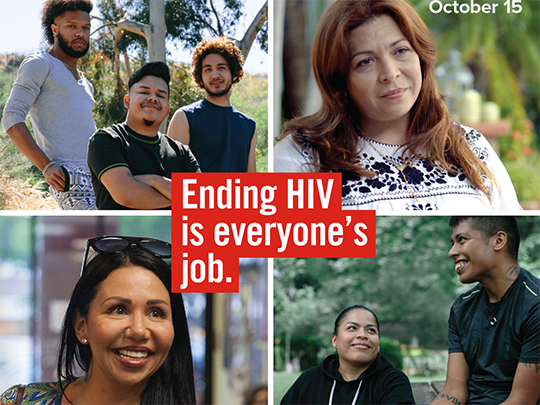 "Photo of groups of smiling people with text stating: ""Ending HIV is everyone"