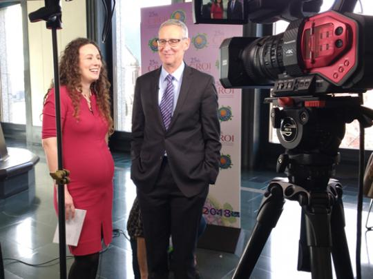 Dr. Dieffenbach, the Director of the Division of AIDS at NIH's National Institute of Allergy and Infectious Diseases (NIAID) speaks on camera with his colleague Anne Rancourt