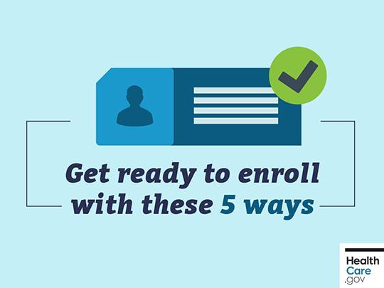 "Graphic featuring Healthcare.gov logo and text: ""Get ready to enroll with these 5 ways."""